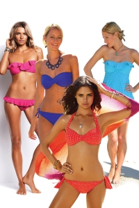 An image of bikinis in strong block colours