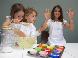 Image of girls making fairy butterfly cakes