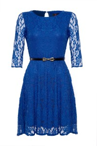 Image of an electric blue laced dress and black belt by Yumi