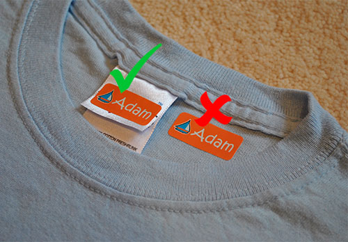 Where to put My Nametags colour stickers on clothing